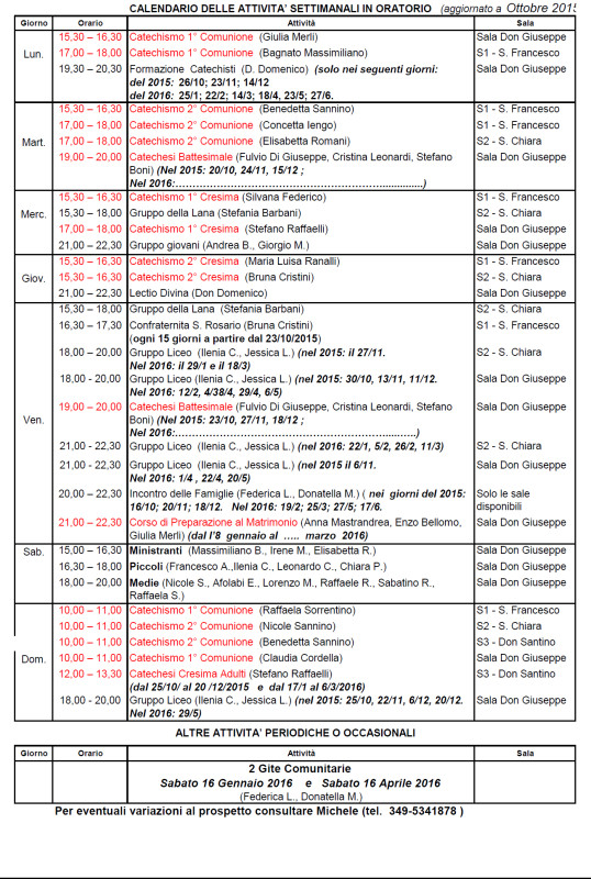 Orari oratorio 2015-16